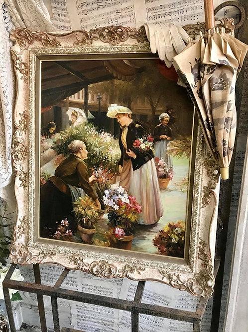 Flower market painting
