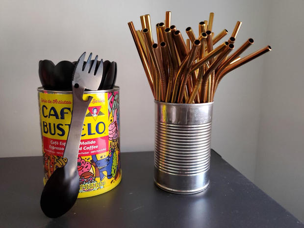On the go utensil & straw set