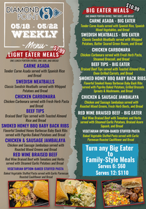 Diamond Point GO menu for the week of May 18 through May 22.