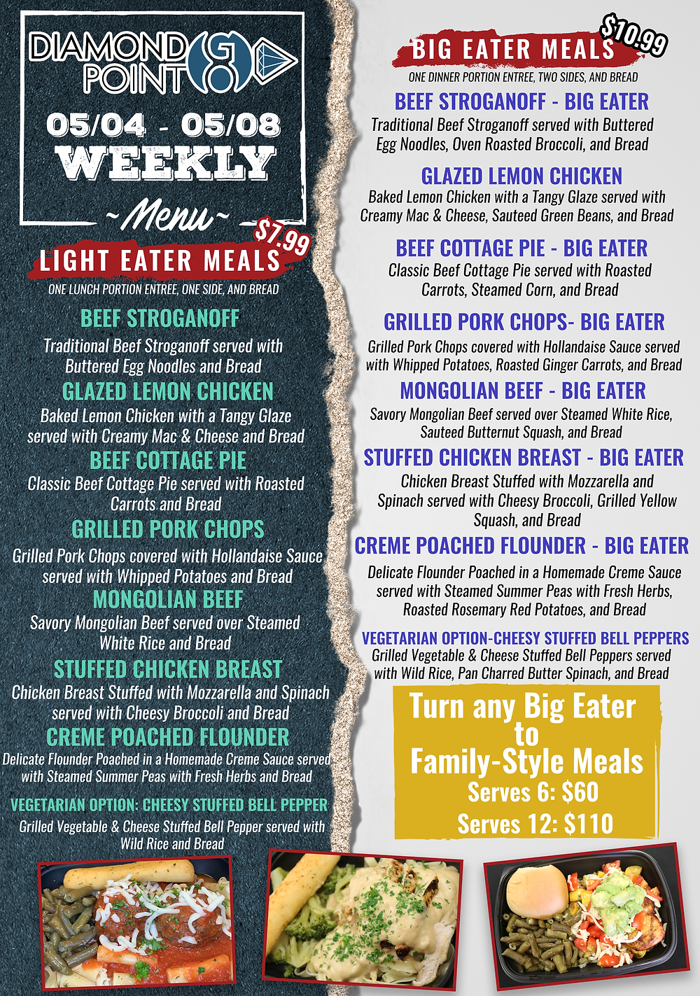 Diamond Point GO menu for May 4 through May 8
