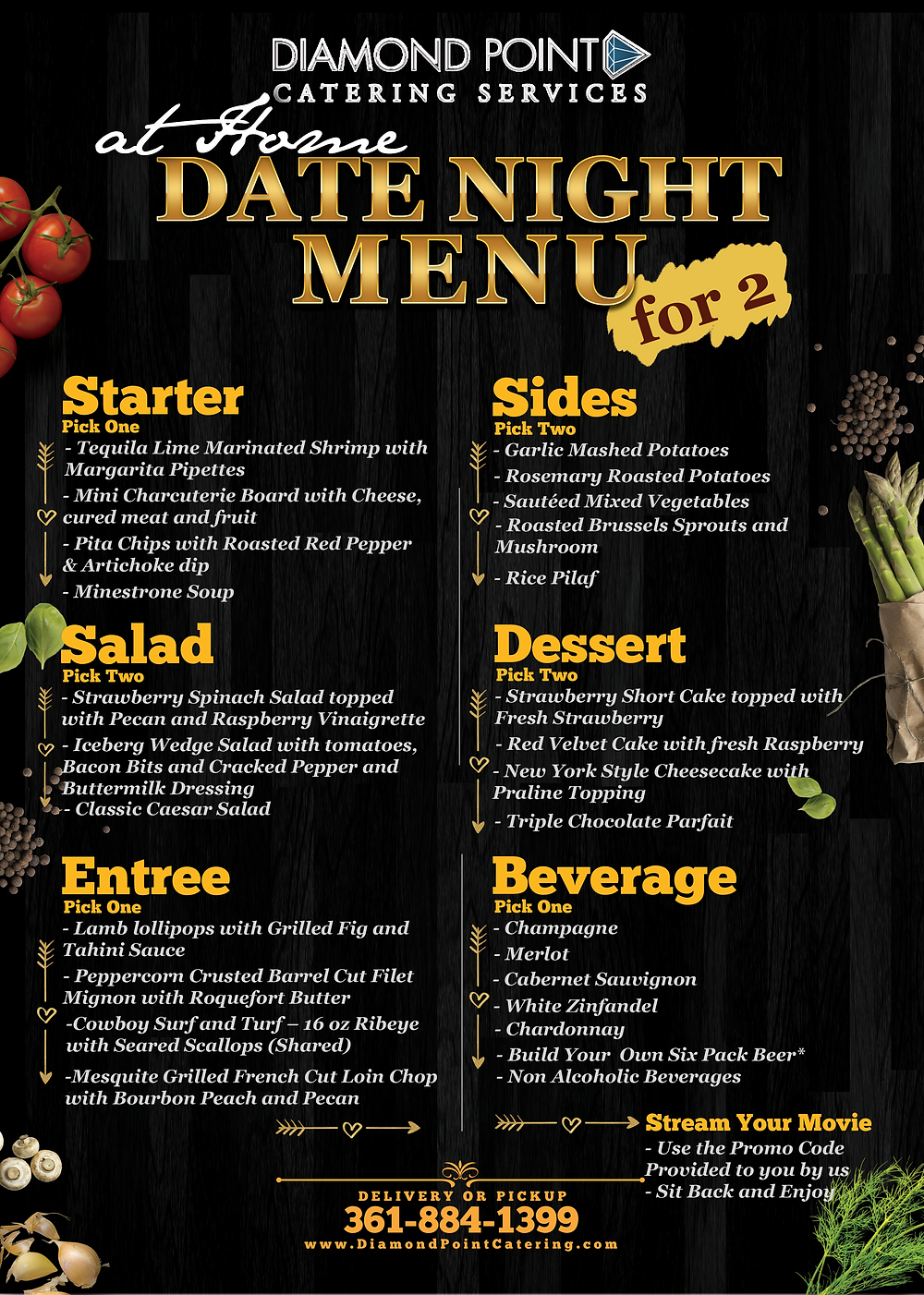 Diamond Point Catering's date night at home menu for two: includes a 4 course meal and a RedBox on Demand promo code.