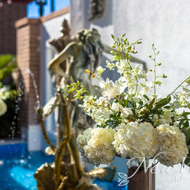 Flowers on the fountain