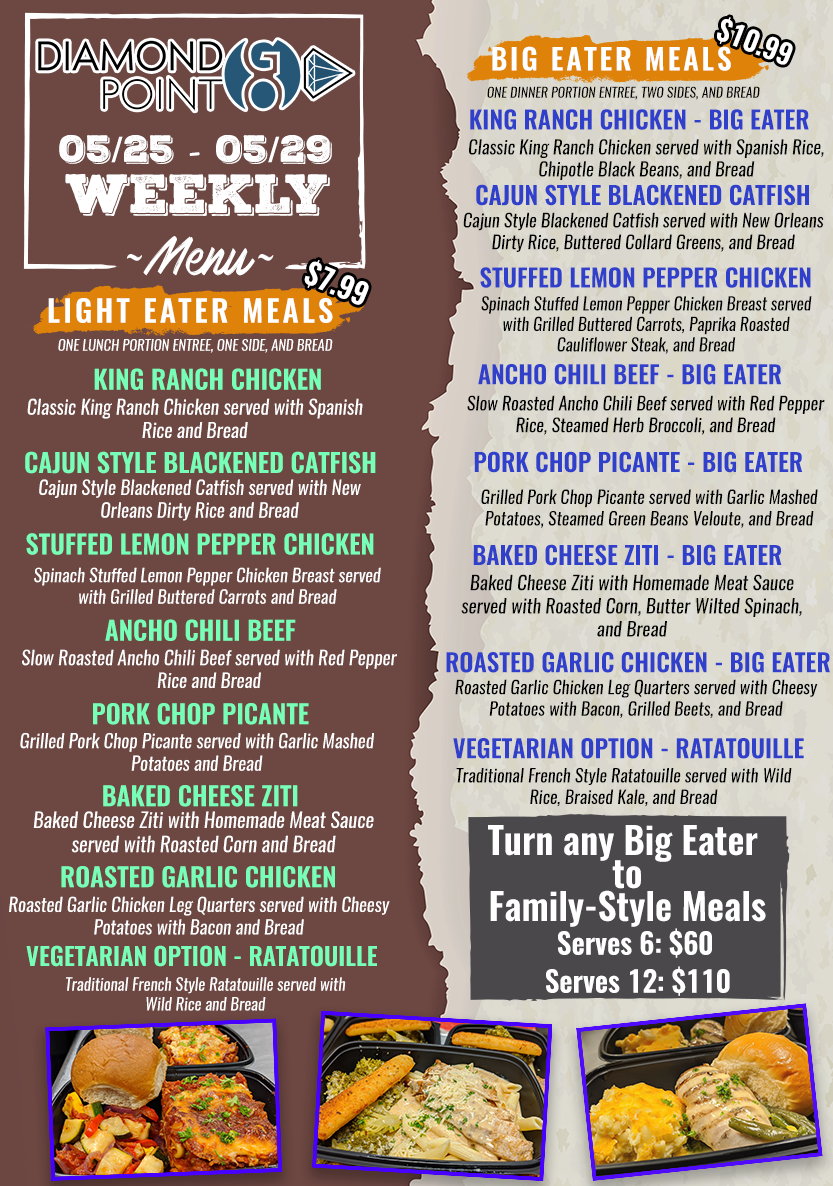 Diamond Point GO menu for May 25 through May 29 with little eater meals and big eater meals.