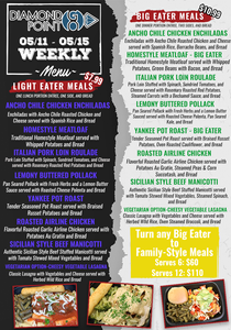 The weekly menu for Diamond Point GO including light eater meals, big eater meals, and the option to turn meals into a family size serving
