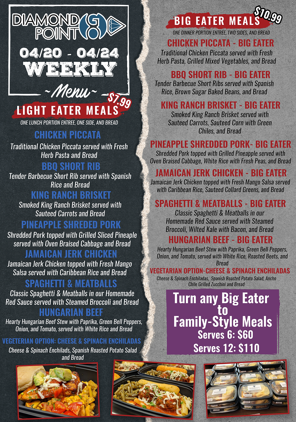 Diamond Point GO Menu for April 27 through May 1 offering light eater, big eater, and family-style size meals!