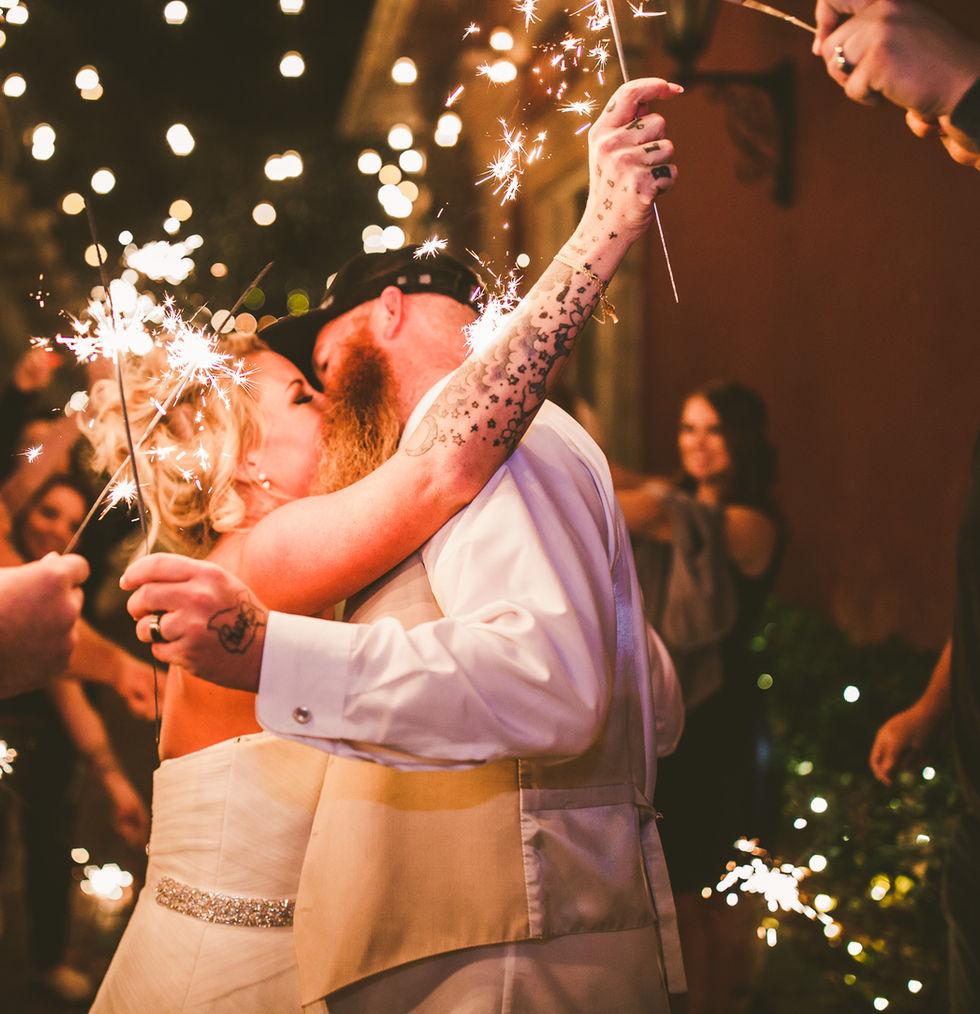First kiss under sparklers