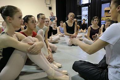 Mill Ballet Summer Dance Program Dancers talk with teacher