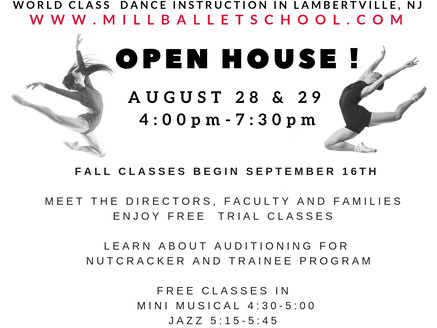 Fall Open House August 28th and 29th