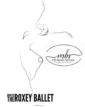 Outline of dancer and Mill Ballet logo