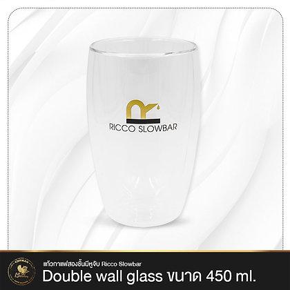 แก้วกาแฟสองชั้นมีหูจับ Ricco Slowbar - Double wall glass 450 ml.