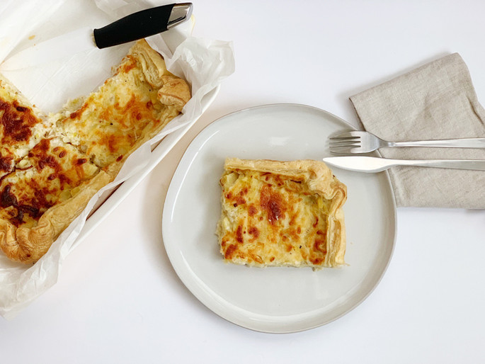Leeks and potatoes quiche