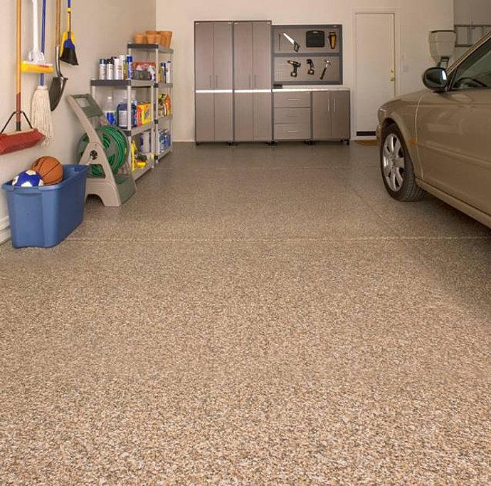 beige epoxy flakes garage