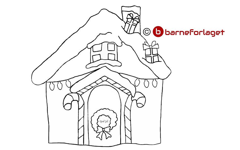 Fargelegg Julehuset pepperkakehus eventyr barneforlaget