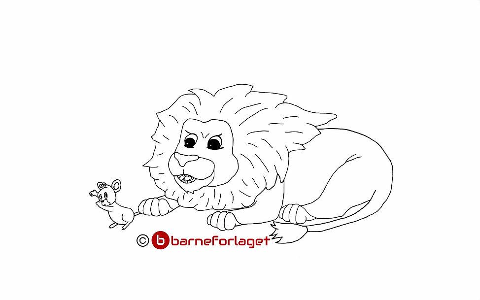 Fargelegg Løven og musa Barneforlaget Eventyr