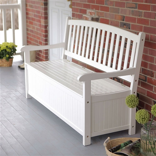 Home > Outdoor > Outdoor Furniture > Garden Benches > White Wood 4-Ft Outdoor