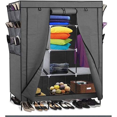 Home > Bedroom > Wardrobe & Armoire > Grey 69-inch Portable Closet Organizer