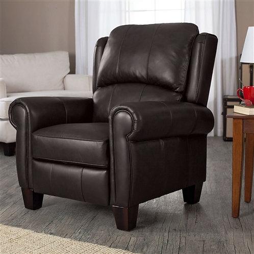 High Quality Top Grain Leather Upholstered Wingback Recliner Club Chair in Choco