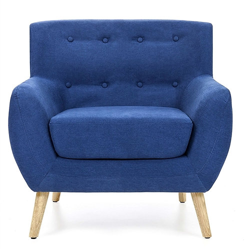 Home > Living Room > Accent Chairs > Blue Linen Upholstered Armchair with Mid