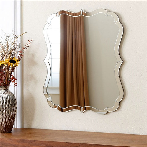 Home > Accents > Mirrors > Venetian Style Curvy Vanity Wall Mirror in Silver