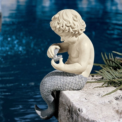 Home > Outdoor > Outdoor Decor > Garden Statues > Young Little Sitting Mermai