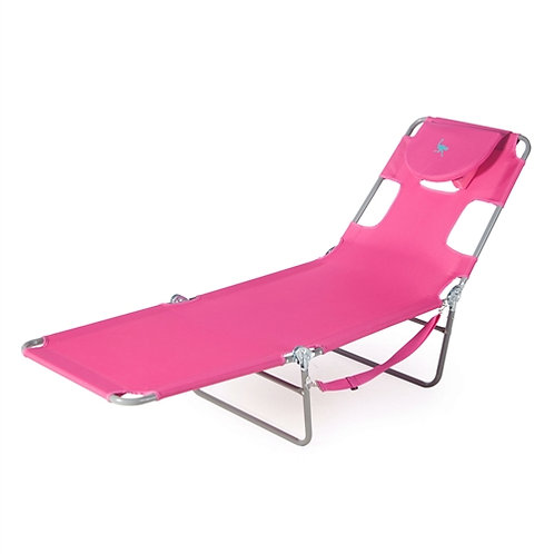 Home > Outdoor > Beach Chairs > Pink Outdoor Chaise Lounge Beach Chair with 3