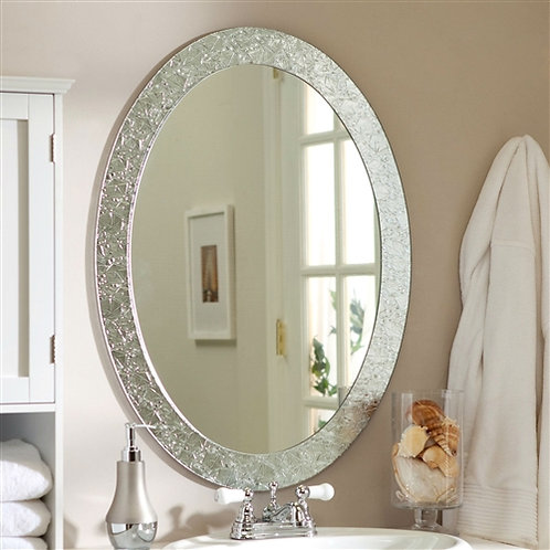 Home > Accents > Mirrors > Oval Frame-less Bathroom Vanity Wall Mirror with E