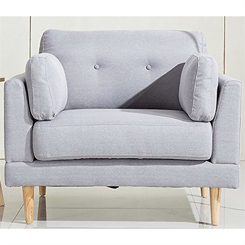 Home > Living Room > Accent Chairs > Modern Light Grey Linen Upholstered Armc