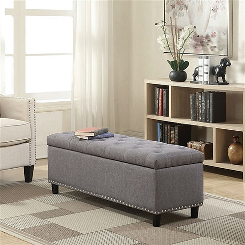 Home > Accents > Benches > Grey Linen 48-inch Bedroom Storage Ottoman Bench F