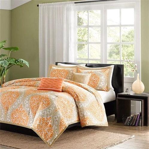 California King size 5-Piece Comforter Set in Orange Damask Print