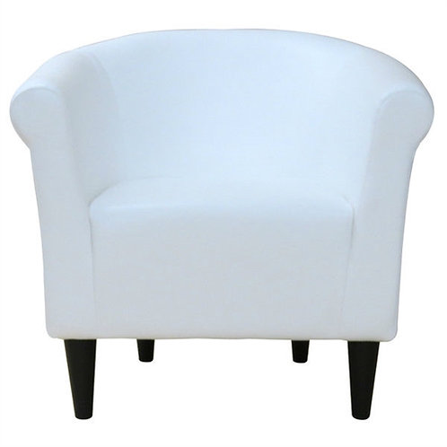 Home > Living Room > Accent Chairs > Modern Classic White Faux Leather Uphols