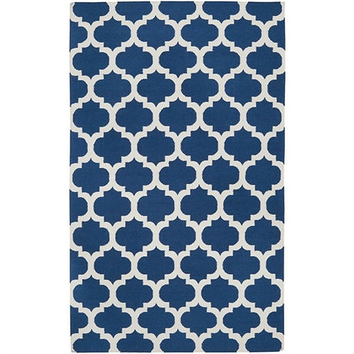 Home > Accents > Rugs > 5' x 8' Flat Woven Wool Area Rug Handmade Blue White