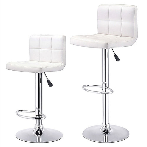 Home > Dining > Barstools > Set of 2 White Faux Leather Swivel Bar Stools Pub