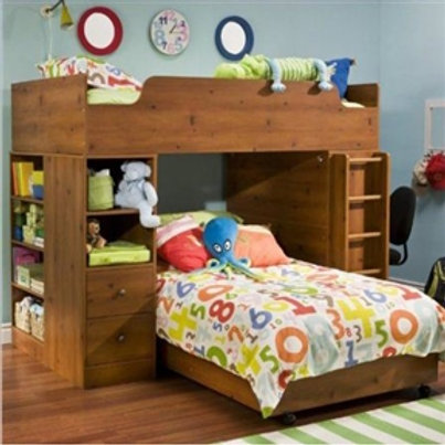 Home > Bedroom > Bed Frames > Bunk Beds > Sunny Pine Twin over Twin L-Shaped