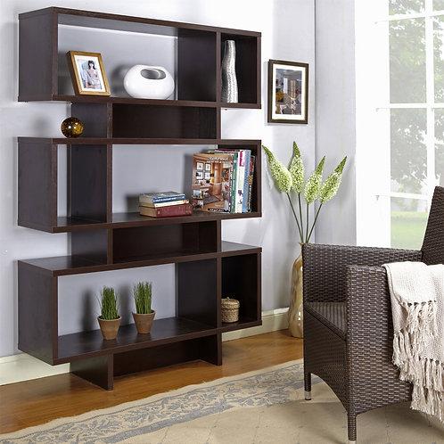 Modern 63-inch high Bookcase Geometric Display Shelf in Espresso Wood Finish