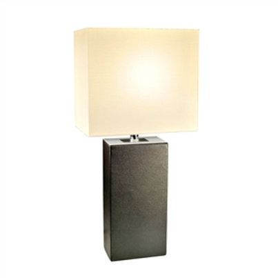 Home > Lighting > Table Lamps > Contemporary Black Leather Table Lamp with Wh
