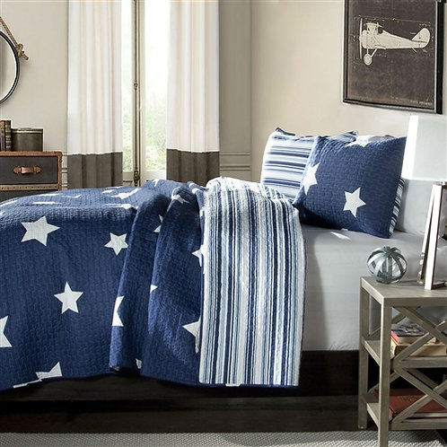 Home > Bedroom > Quilts & Blankets > Full / Queen Navy Stars And Stripes At N
