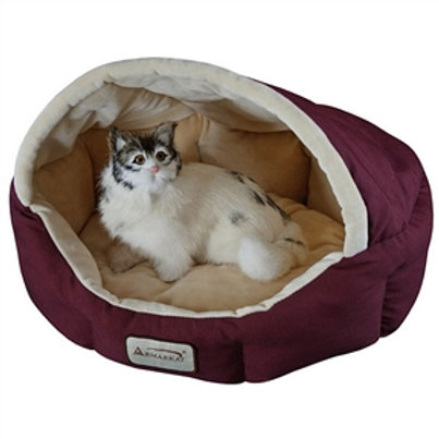 Home > Bedroom > Cat and Dog Beds > 18-inch Burgundy & Beige Small Dog & Cat