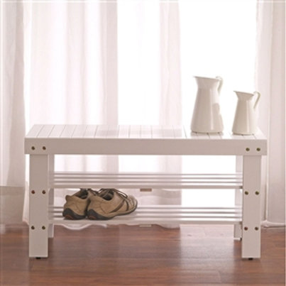 Home > Accents > Benches > Solid Wood Shoe Rack Entryway Storage Bench in Whi