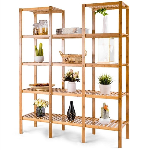 Home > Living Room > Bookcases > Bamboo Wood 4-Shelf Bookcase Plant Stand She