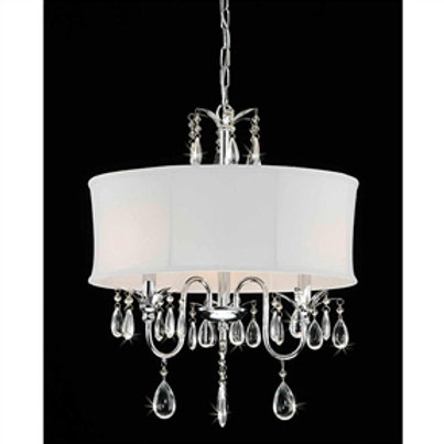 Home > Lighting > Chandeliers > 3-Light Chrome Crystal Chandelier with Fabric