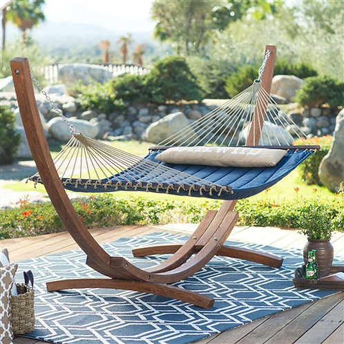 Home > Outdoor > Outdoor Furniture > Hammocks > Blue 2-Person Quilted Hammock w5