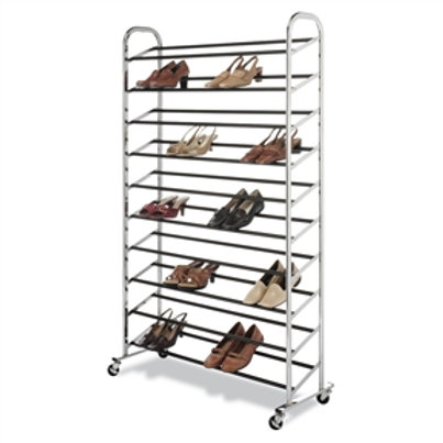 Home > Accents > Shoe Racks > 50 Pair Shoe Rack Tower in Chrome - Wheels Incl