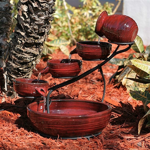 Home > Outdoor > Outdoor Decor > Outdoor Fountains > Red Ceramic 5-Tier Hand