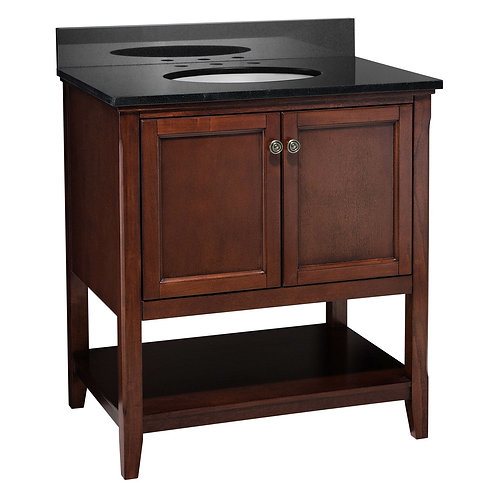 Traditional Style Solid Wood Bathroom Vanity in Chestnut Finish