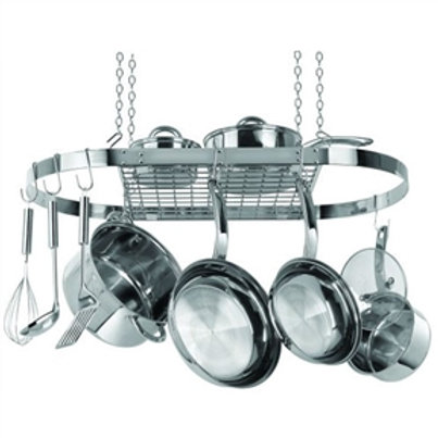 Home > Kitchen > Pot Racks > Stainless Steel Oval Pot Rack for Kitchen Cookwa