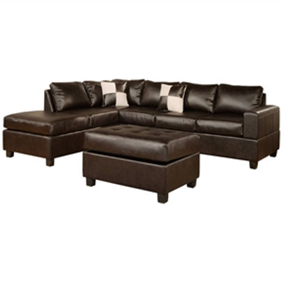 Home > Living Room > Sofas > Reversible Soft Touch Faux Leather 3-Piece Secti