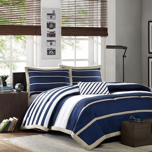 Twin / Twin XL Comforter Set in Navy White Khaki Stripes