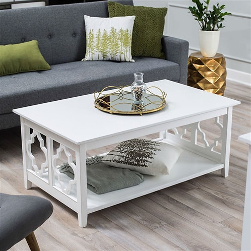 Home > Living Room > Coffee Tables > White Quatrefoil Coffee Table with Solid