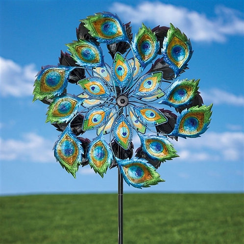 Home > Outdoor > Outdoor Decor > Wind Spinners > Peacock Solar Multi-Color Wi
