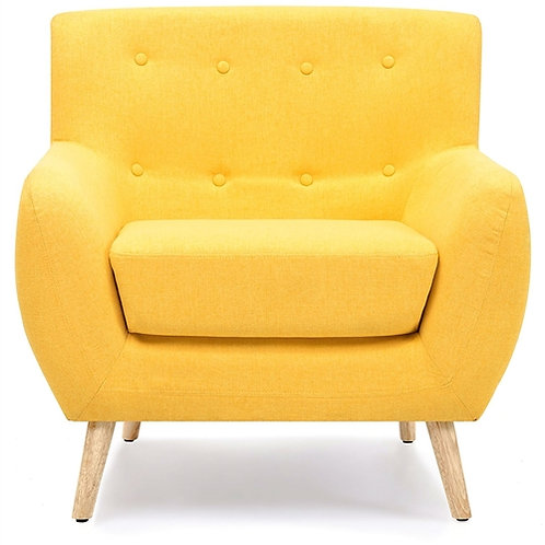 Home > Living Room > Accent Chairs > Modern Yellow Linen Upholstered Armchair